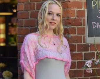 Rose wool bolero Handmade light pink bridal lace shrug Transparent  wedding knitted shrug Poncho