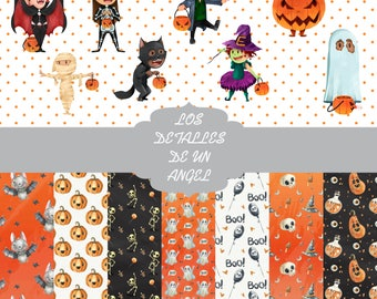 Halloween digital paper kit / Kit digital paper Halloween