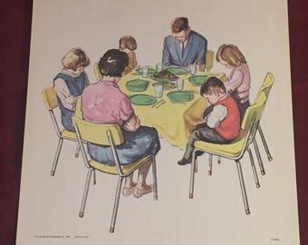 Thanksgiving Time, Sunday School Church Art.  11x17 Vintage Teaching Aid, Lithograph