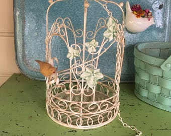 Vintage Metal Birdcage with Carved Resin Bird Decorative Birdcage Shabby Cottage Style Home Decor