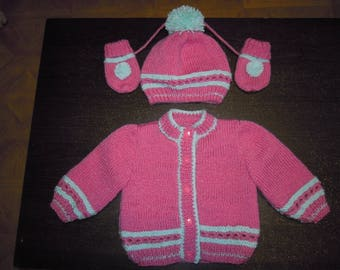 vest, hat and mittens knitted handmade set size 3 months