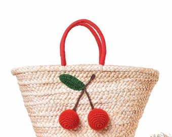 Women Straw Pom Pom Tote Beach Bag Cherry Handbag