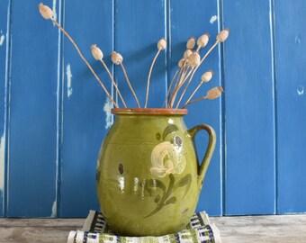 Antique green floral Austrian pot/jug, 19th century, decorative accessory.