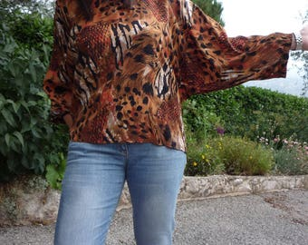 Satin cotton jungle print blouse