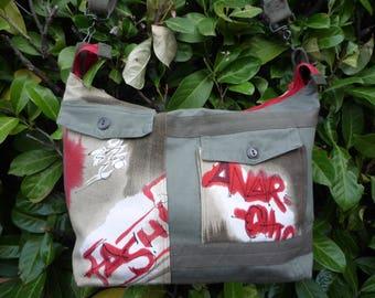 Plain and printed khaki shoulder tote bag