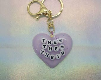 Gender Pronoun - They/Them/Their Heart Keychain