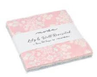 Lily and Will Revisited charm pack by Bunny Hill Designs for Moda soft pastel colors for quilts of all ages and sizes. blue pink gray baby