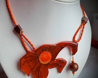 Orange pendant, Fashion jewelry, unusual gifts big necklaces for women, handmade jewelry, pendant necklace, necklace, abstract