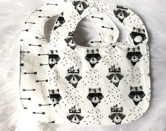Baby bibs boy - raccoon, arrow - set of 2 - black and white