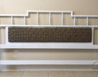 Faux Bamboo King Size Headboard Pagoda Style with Center Cushion.
