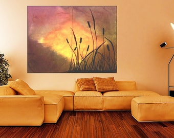 Original Watercolor Cattails in Storm 2, Instant Digital Download, Wall Hanging, eArtwork Prints