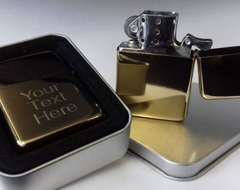 High Quality Engraved Gold Finish Petrol Lighter with personal message