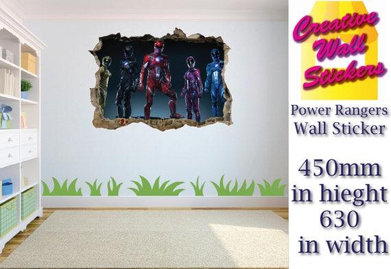 Power Rangers Wall Sticker Kids Bedroom Hole In Wall Effect Wall Decal  Mural.