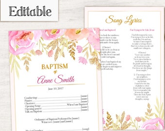 Baptism Program, Editable PDF,  Printable Digital Handout Girl Baptism, pink flowers, gold, watercolor, Girl Baptism, Program Template