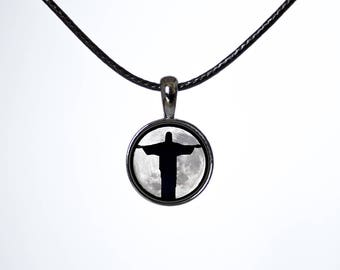 Christ choker Christ The Redeemer Choker necklace Moon choker Rio jewellery Rio de Janeiro Black choker Chokers Leather cord Lunar choker