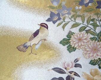 Japanese SILK OBI Sash Panel - Birds' Paradise  (Sample)
