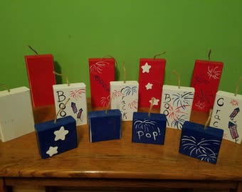 July 4th, fireworks, hand painted wooden home decor, red, white and blue