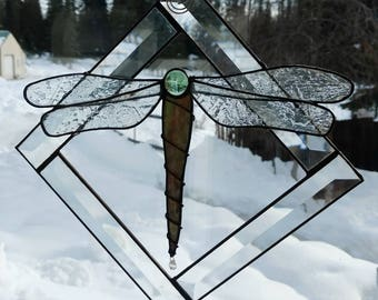 Stained Glass Sun catcher, Dragonfly.  Light green.  Handmade, Copper foil