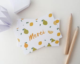 Set of 18 illustrated lemons and pears thank you cards