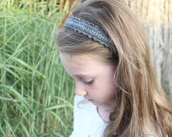 Merino Wool Felt Headband - Heather Gray / Embroidered Headband / Girl's Fashion / Hair Accessories / Mommy and Me