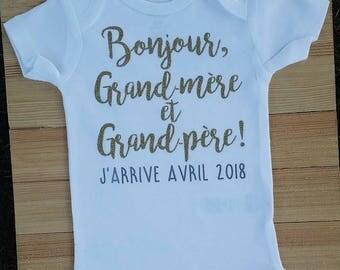 Pregnancy announcement, Bonjour Grand-Mere et Grand-Pere, Grandparent Baby Reveal, French Pregnancy Announcement