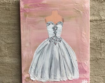 Wedding Dress Commission, Preserve Your Wedding Dress, Wedding Dress Painting, Wedding Gown Art 11x14