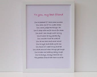 Personalised friendship poem, Best friend goodbye gift, thank you present, Gifts for women friends, Framed print for sister's wedding day