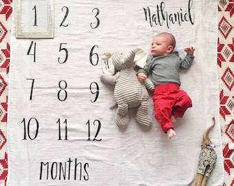 Organic Bamboo Muslin Baby Monthly Memory Swaddle Blanket 1st first year Photo Growth Prop Yearly Weekly Month Mile Marker child shower gift