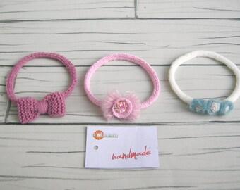 Three pieces, newborn headnabds, newborn photo props, handmade, wool, accessori neonato, set fotografico bambini.