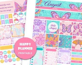 AUGUST MONTHLY KIT Mambi Happy Planner august Printable monthly planner Monthly view kit 2018 Planner Stickers