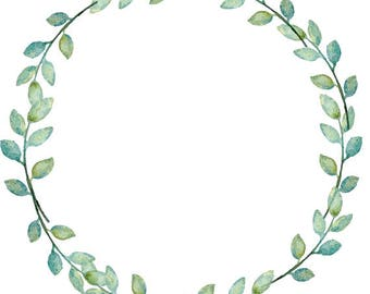 Greenery Clipart Leafy Wreath Watercolor Wreath Watercolor Clipart Minimalist Wreath Wedding Wreath