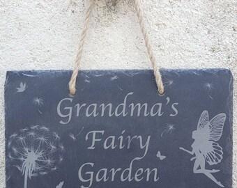 Grandma's Fairy Garden slate plaque