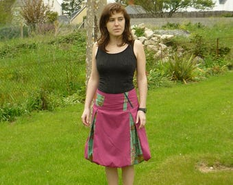 Pink and turquoise ball patterned skirt