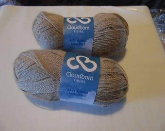 One skein Cloudborn Baby Alpaca Fingering Yarn - Color Sand Heather - 201 yards