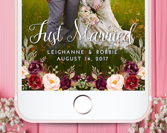 Burgundy Floral Wedding Snapchat Filter, Snapchat Geofilter Wedding, Elegant Snapchat Filter, Wedding, Custom Wedding Filter