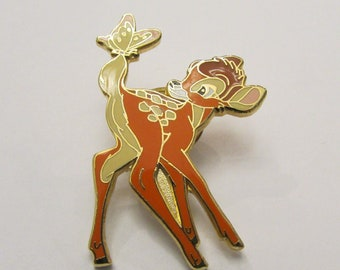 Disney Bambi Looking at Butterfly on Tail Pin