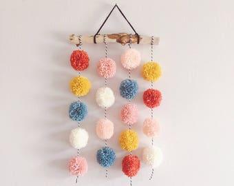 Pom Pom Driftwood | Pom Pom Hanging | Nursery Decor | Driftwood | Pom Pom | Wall Decor | Wall Hanging | Custom | Yarn Wall Hanging | Pom Pom