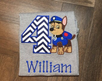 Paw Patrol Birthday Shirt, Paw Patrol Chase Birthday Shirt, 4th Birthday Shirt for Boys, Boy Dog Birthday Shirt, Police Dog Birthday Shirt,