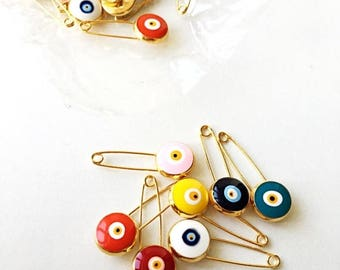 PROMO BIG SALE Lucky evil eye safety pin, protection for baby, gold plated evil eye pins, baby boy gift pin, baby shower gift, stroller, bir