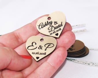 Wedding favor, Wedding tags, Wedding favor tags, Gold tags, Wedding gold favors, Gold hearts, Wedding hearts, custom tags, Tags favors