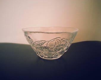 Small Fruit Design Glass Bowl - Vintage Swedish