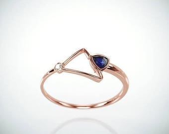 SALE! 14k Rose Gold Blue Sapphire Ring | Handmade Solid 14k rose gold promise ring set with 0.20ct  trillion cut Blue Sapphire and a diamond