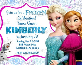Frozen Invitation - Disney Princess Elsa Anna Birthday Party Invitation - Birthday Party Invite - Digital - Personalized Customized