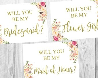Will You Be My Bridesmaid, Flower Girl, Maid of Honor Card, Vintage Gold Floral Boho, Flower Boho Wedding Sign, Printable, Instant Download