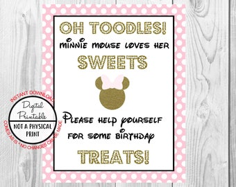 "Oh Toodles Sweets and Birthday Treats Sign, Minnie Mouse Birthday Party Sign, 8""x10"" Printable, Instant Download, Gold & Pink Sign"