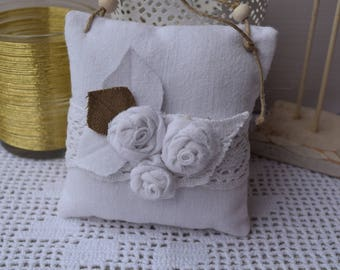 Door fabric shabby white and pink - hanging - decorative pillow cushion bouquet of shabby - white pillows with fabric and lace