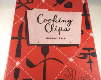 Recipe Card Binder - Vintage Recipe Dividers - Cooking Clips - Kitchen Organization - 1960s Recipe File - Vintage Kitchen Decor