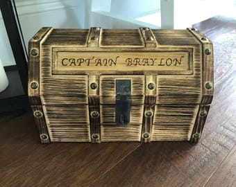 Treasure Chest - Personalized, Child's Keepsake, Toy Trunk, Pirate Chest, Storage