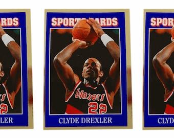 5 - 1992 Sports Cards #37 Clyde Drexler Basketball Card Lot Trail Blazers