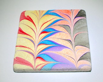 Hand marbled stone tile with fountain design.(037)
